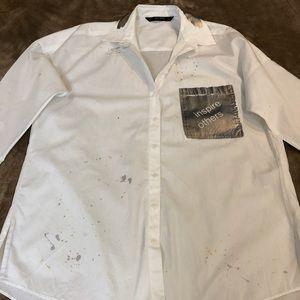 Shirt white button down 3/4 sleeves